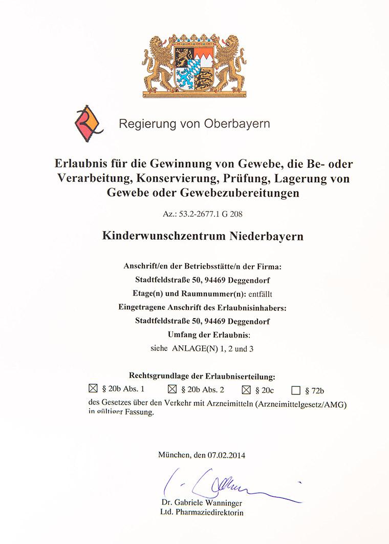 Urkunde für das Kinderwunschzentrum Deggendorf