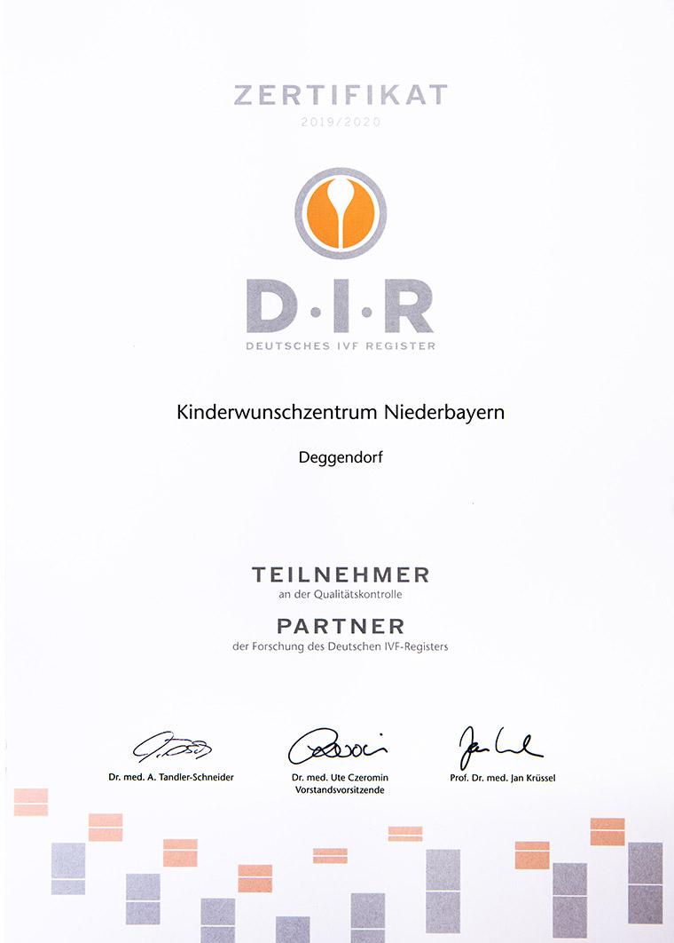 Zertifikat Deutsches IVF Register